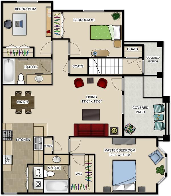 S4 1233sqft 3Bed Plan